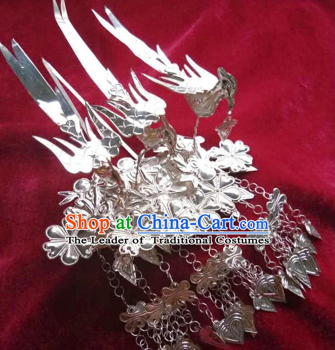Traditional Chinese Miao Nationality Birds Hairpins Hair Accessories Sliver Hair Clip for Women
