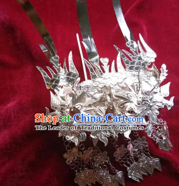 Traditional Chinese Miao Nationality Phoenix Hairpins Hair Accessories Sliver Hair Clip for Women