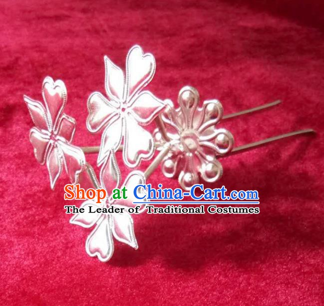 Traditional Chinese Miao Nationality Hairpins Hair Accessories Sliver Hair Clip for Women