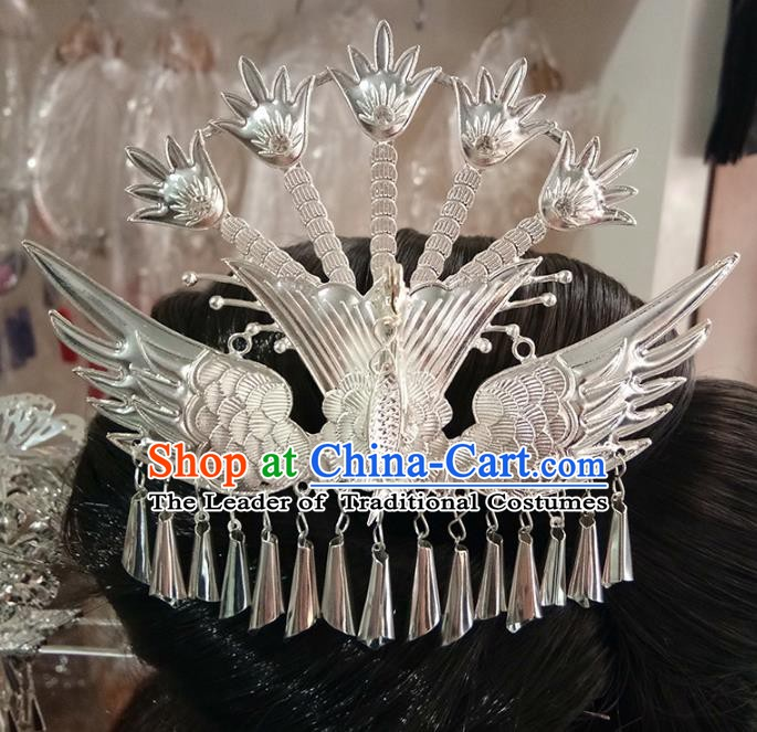 Traditional Chinese Miao Nationality Hairpins Hair Accessories Sliver Phoenix Hair Clip for Women