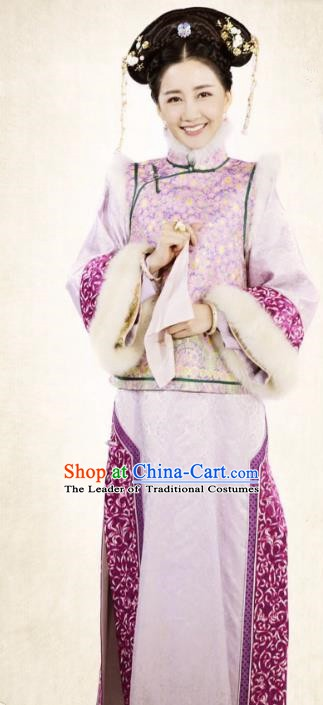 Ancient Chinese Qing Dynasty Shunzhi Empress Embroidered Dress Costume for Women