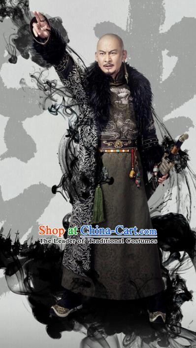 Chinese Qing Dynasty Emperor Nuerhachi Historical Costume China Ancient Manchu Majesty Clothing