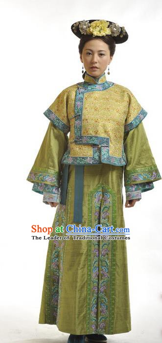 Ancient Chinese Qing Dynasty Manchu Eight Princess Consort Ruolan Embroidered Historical Costume for Women
