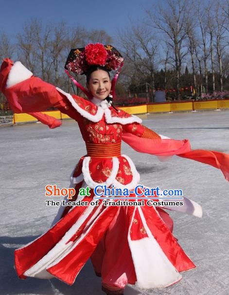 Ancient Chinese Qing Dynasty Manchu Yongzheng Consort Li Embroidered Historical Costume for Women