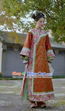 Chinese Ancient Qing Dynasty Kangxi Princess Embroidered Manchu Dress Historical Costume for Women