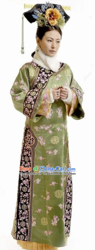Chinese Qing Dynasty Princess Consort of Yinsi Historical Costume Ancient Manchu Palace Lady Clothing for Women