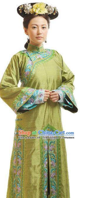 Chinese Qing Dynasty Manchu Imperial Consort Historical Costume Ancient Palace Lady Clothing for Women