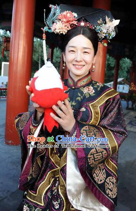 Chinese Qing Dynasty Empress Dowager Cixi Historical Costume Ancient Manchu Clothing for Women