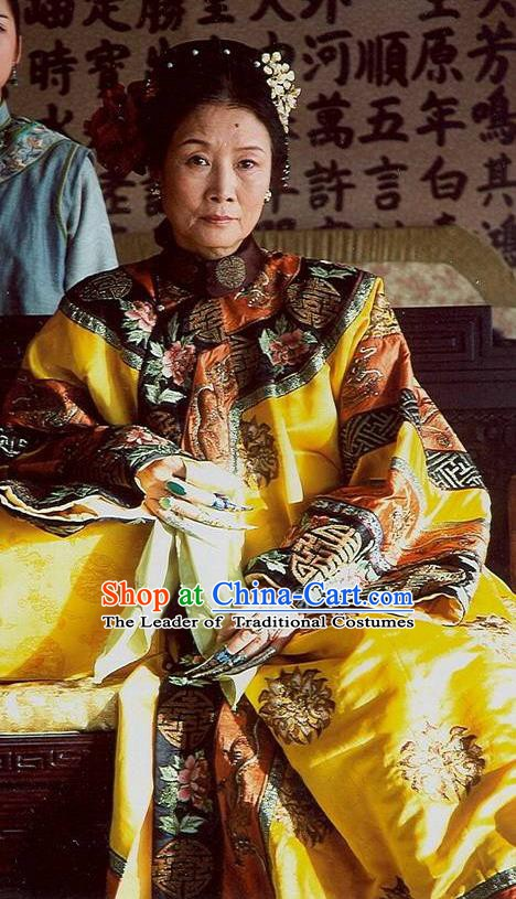 Chinese Ancient Qing Dynasty Empress Dowager Cixi Embroidered Manchu Dress Historical Costume for Women