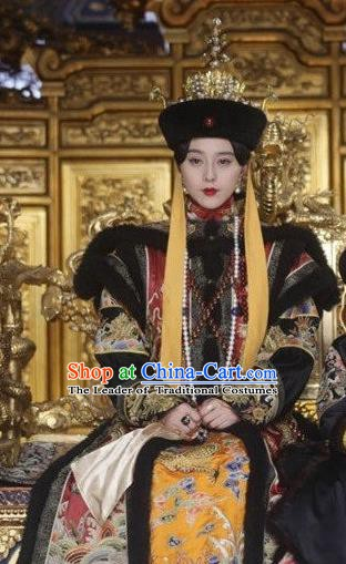 Chinese Ancient Qing Dynasty Historical Costume Empress Cixi Embroidered Dress for Women