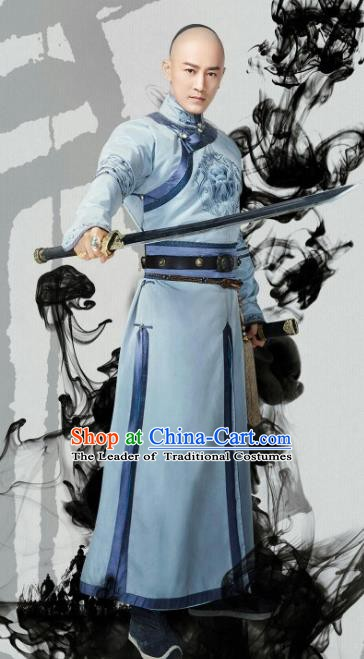 Chinese Ancient Qing Dynasty Emperor Hong Taiji Historical Costume Manchu Khan Clothing for Men
