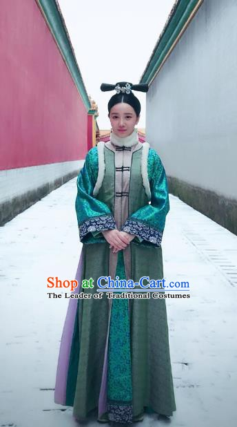 Chinese Qing Dynasty Princess Historical Costume Ancient Manchu Palace Lady Clothing for Women