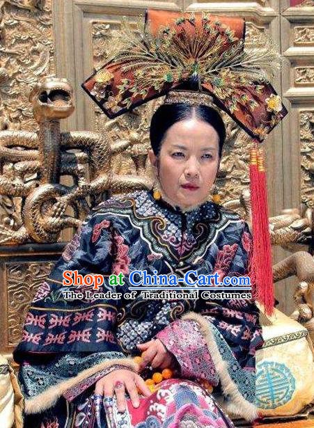 Chinese Qing Dynasty Empress Dowager Cixi Historical Costume Ancient Manchu Queen Mother Embroidered Dress for Women