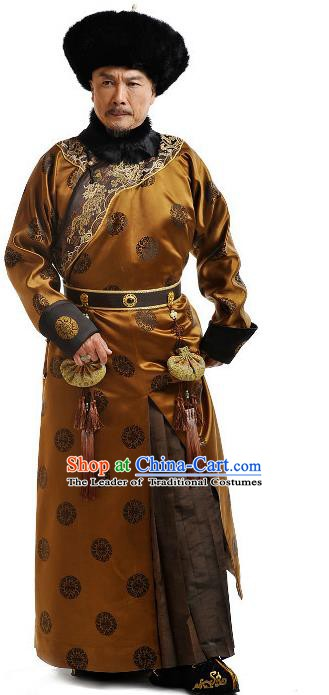 Chinese Qing Dynasty Emperor Kangxi Xuanye Historical Costume Ancient Manchu Kaiser Clothing for Men