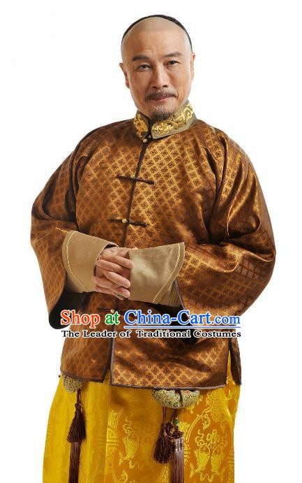 Chinese Qing Dynasty Emperor Kangxi Court Historical Costume Ancient Manchu Kaiser Xuanye Clothing for Men