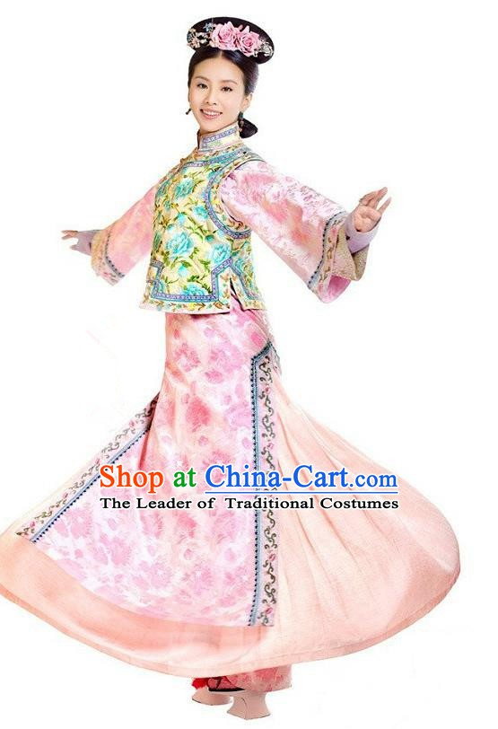 Chinese Qing Dynasty Manchu Princess Ruoxi Historical Costume Ancient Palace Lady Clothing for Women