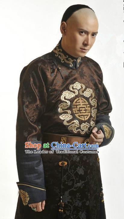 Chinese Qing Dynasty Nine Prince of Kangxi Yintang Historical Costume Ancient Manchu Royal Highness Clothing for Men