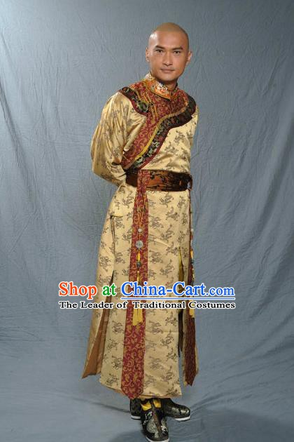 Chinese Qing Dynasty Emperor Kangxi Historical Costume Ancient Manchu Royal Kaiser Clothing for Men