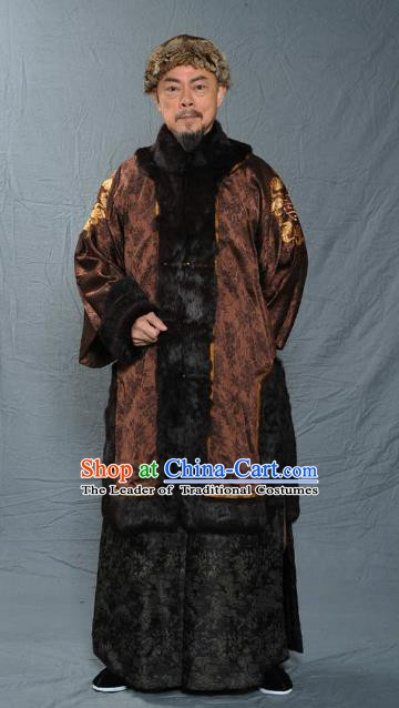 Chinese Qing Dynasty Royal Prince Historical Costume Ancient Manchu Royal Highness Clothing for Men
