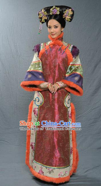 Chinese Qing Dynasty Senior Concubine of Kangxi Historical Costume Ancient Manchu Lady Clothing for Women