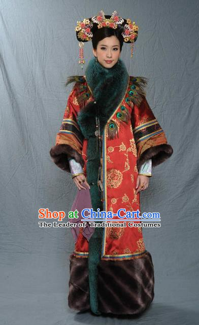 Chinese Qing Dynasty Imperial Concubine of Kangxi Historical Costume Ancient Manchu Lady Clothing for Women