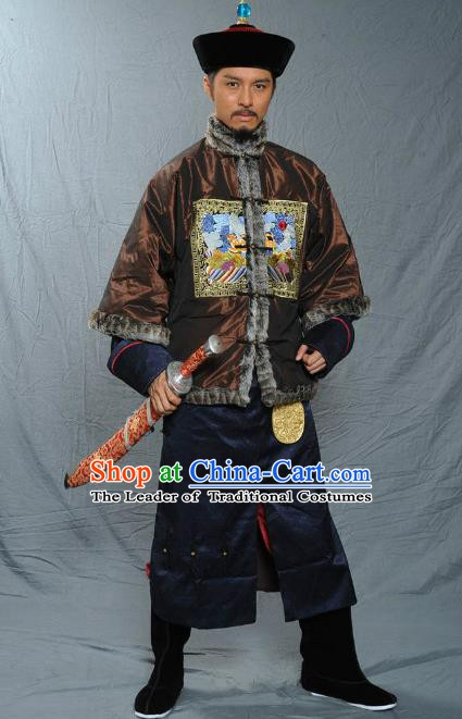 Chinese Qing Dynasty Baturu Historical Costume Ancient Manchu General Clothing for Men