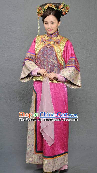 Chinese Qing Dynasty Manchu Imperial Concubine of Kangxi Historical Costume Ancient Palace Lady Clothing for Women