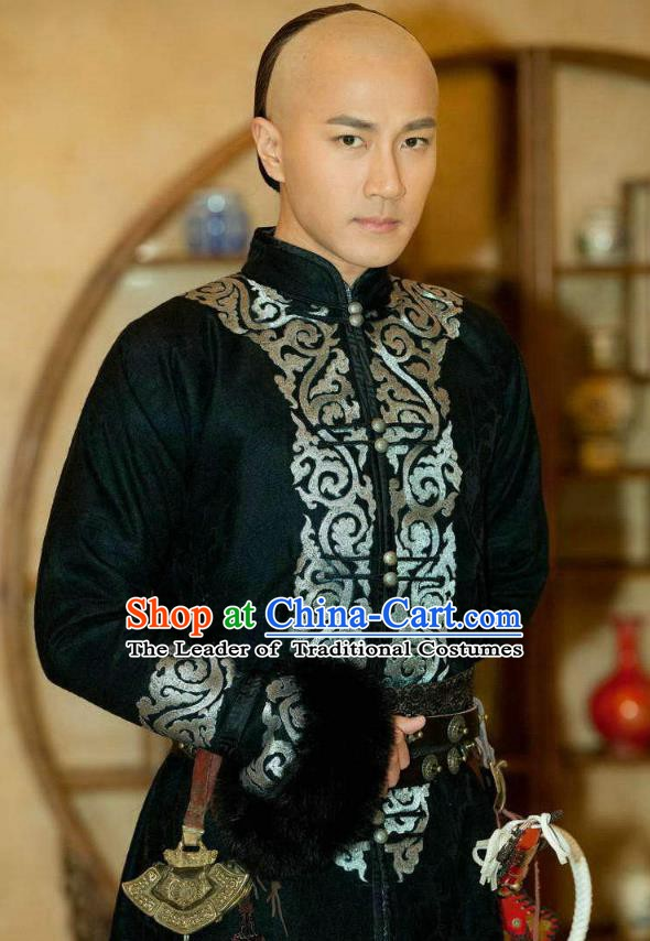 Chinese Qing Dynasty Emperor Kangxi Historical Costume Ancient Manchu Padishah Clothing for Men