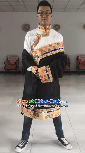 Traditional Chinese Zang Nationality Black Costume, Tibetan Ethnic Minority Kang-pa Tibetan Robe for Men