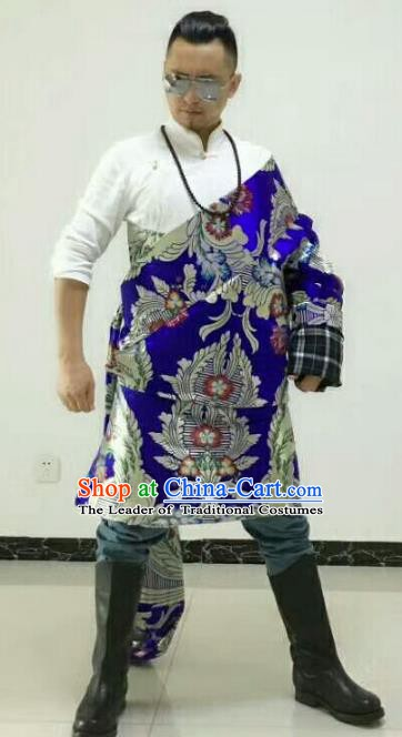 Traditional Chinese Zang Nationality Costume, Tibetan Ethnic Minority Kang-pa Royalblue Tibetan Robe for Men