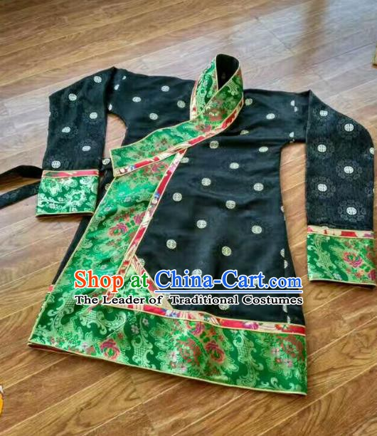 Chinese Tibetan Nationality Costume Black Blouse, Traditional Zang Ethnic Minority Shirts Clothing for Women