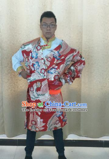 Traditional Chinese Zang Nationality Costume, Tibetan Ethnic Minority Kang-pa Red Tibetan Robe for Men