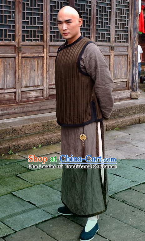Chinese Qing Dynasty Painter Zheng Banqiao Historical Costume Ancient Poet Clothing for Men