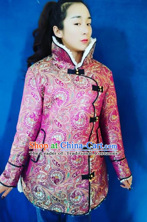 Chinese Tibetan Nationality Dance Costume, Traditional Zang Ethnic Minority Pink Cotton-padded Jacket for Women