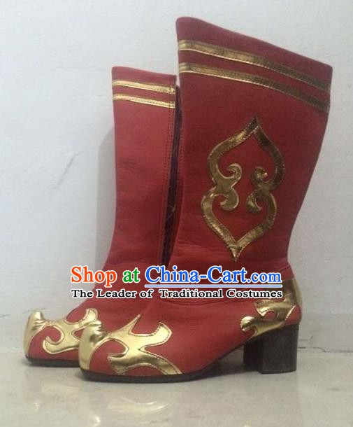 Traditional Chinese Zang Nationality Dance Shoes, Tibetan Ethnic Minority Red Boots for Women