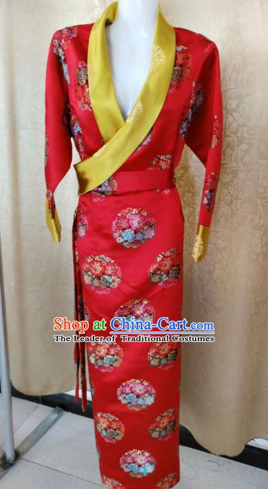 Chinese Tibetan Nationality Costume, Traditional Zang Ethnic Minority Red Tibetan Robe for Women