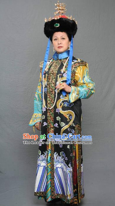Chinese Qing Dynasty Manchu Queen Mother of Kangxi Historical Costume Ancient Empress Dowager Clothing for Women