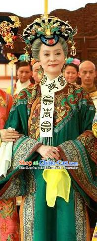 Chinese Ancient Qing Dynasty Empress Dowager of Qianlong Manchu Queen Mother Dress Historical Costume for Women