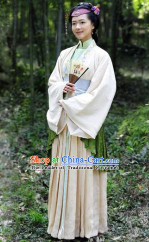 Chinese Ancient Qing Dynasty Courtesan Liu Rushi Hanfu Dress Historical Costume for Women