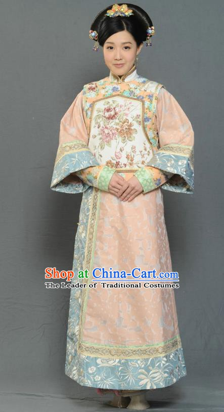 Chinese Ancient Qing Dynasty Imperial Concubine Replica Costumes Manchu Dress Historical Costume for Women