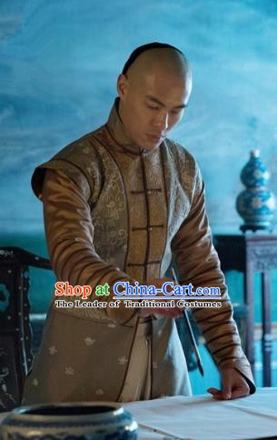 Chinese Qing Dynasty Crown Prince Yinreng Replica Costumes Ancient Manchu Historical Costume for Men