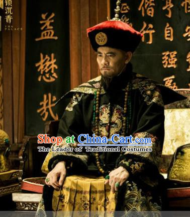 Chinese Qing Dynasty Monarch Replica Costumes Ancient Manchu Emperor Kangxi Historical Costume for Men