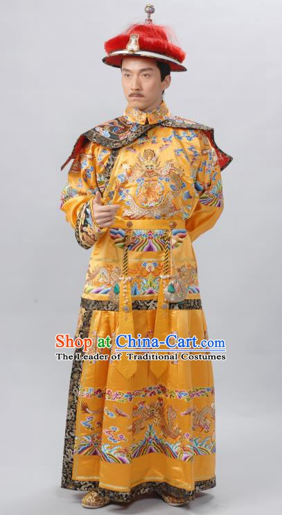 Chinese Qing Dynasty Qianlong Emperor Replica Costumes Ancient Manchu Imperial Robe Historical Costume for Men