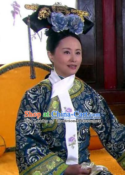 Chinese Ancient Qing Dynasty Imperial Concubine Liang Replica Costumes Manchu Dress Historical Costume for Women