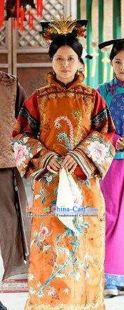 Chinese Ancient Qing Dynasty Imperial Concubine Liang of Kangxi Replica Costumes Manchu Dress Historical Costume for Women