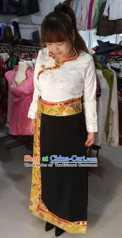 Traditional Chinese Tibetan Nationality Guozhuang Dance Costume, Zang Ethnic Minority Embroidery Dress for Women