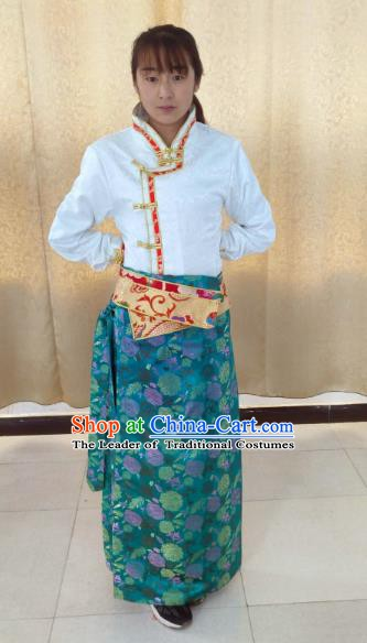 Traditional Chinese Tibetan Nationality Guozhuang Dance Costume, Zang Ethnic Minority Blue Dress for Women