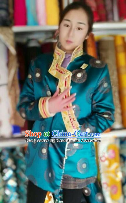 Traditional Chinese Tibetan Nationality Cotton-padded Jacket Costume, Zang Ethnic Minority Blue Coat for Women
