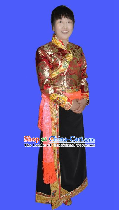 Traditional Chinese Tibetan Nationality Dance Costume, Zang Ethnic Minority Dress for Women