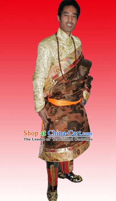 Traditional Chinese Zang Nationality Costume, Tibetan Ethnic Minority Brown Tibetan Robe for Men